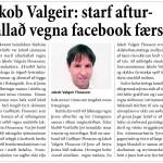 Jakob Valgeir : starf afturkallað vegna facebook færslu